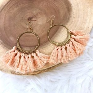 Pink Boho Style Big Circle Drop Tassel Earrings